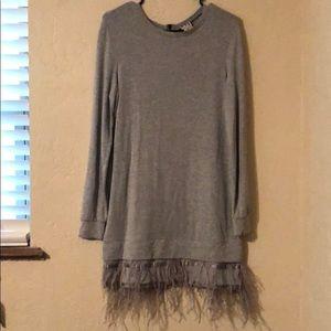 Haute Hippie grey feather dress